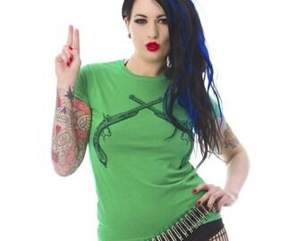 Retro Pistols Ladies Green Tshirt S M, L, XL