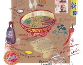 Food art poster The spicy chinese soup recipe - 11X14 Limited edition print No 5/50 - The kitchen collection