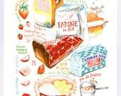 La tarte aux fraises - Original felt-tip drawing