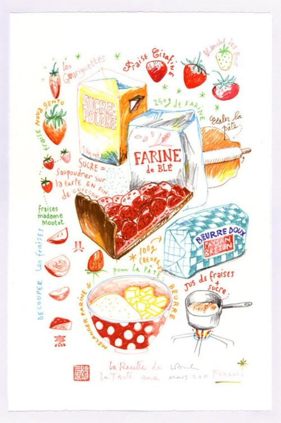la tarte aux fraises original felt tip drawing