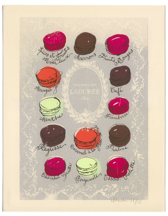 11X14 French macarons poster - Macaroons print - Iridescent Silver screenprint No 15/15 - Food art - The kitchen collection