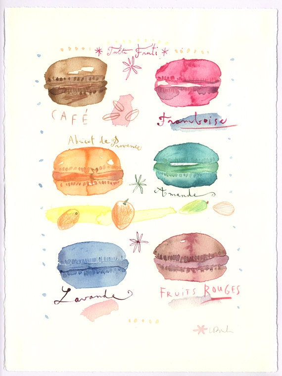 French Macarons Original Watercolor Painting Tutti Fruti