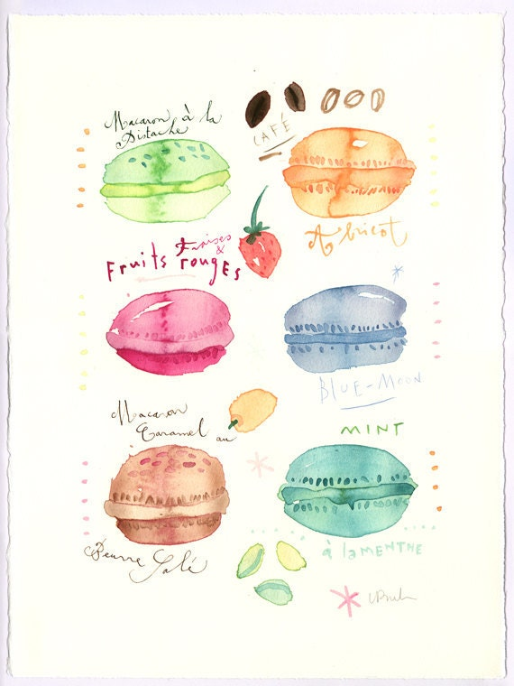 Pastel french macarons collection - Original watercolor painting
