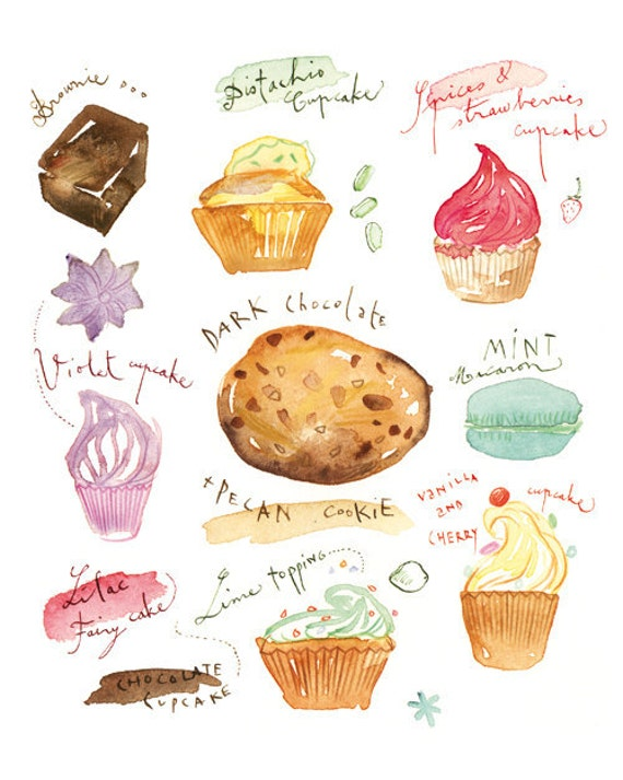Cake poster, Watercolor illustration, Kitchen print, Food art, Bakery
