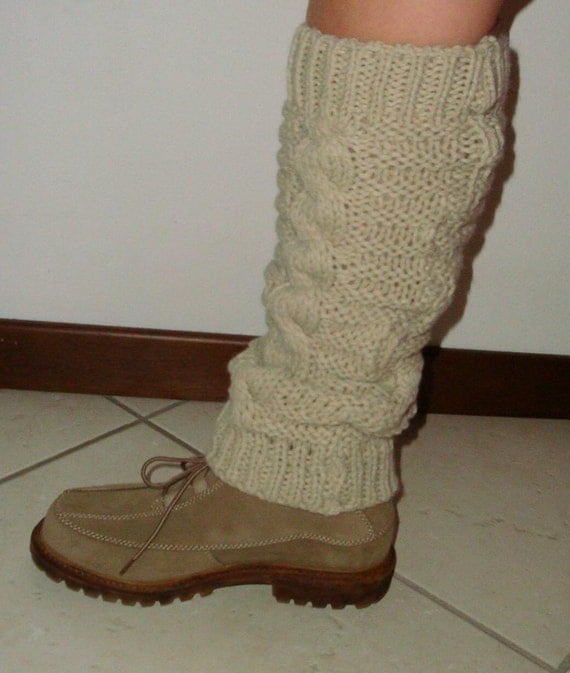 Knit Leg Warmers Cable Pattern : Hand knit leg warmers in beige ivory colour with by InkaBoutique
