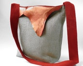 Arva No 6 natural  linen messenger with recycled brushed red leather flap/made to order