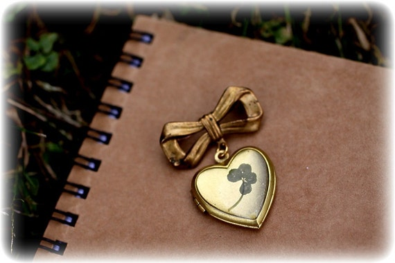 Lucky Four Leaf Clover Preserved on a Vintage Brass Heart Shaped Locket Pin