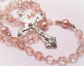 Sparkly Golden Pink First Communion Catholic Rosary