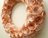 Peach Paper Rose Wreath 13 Inches