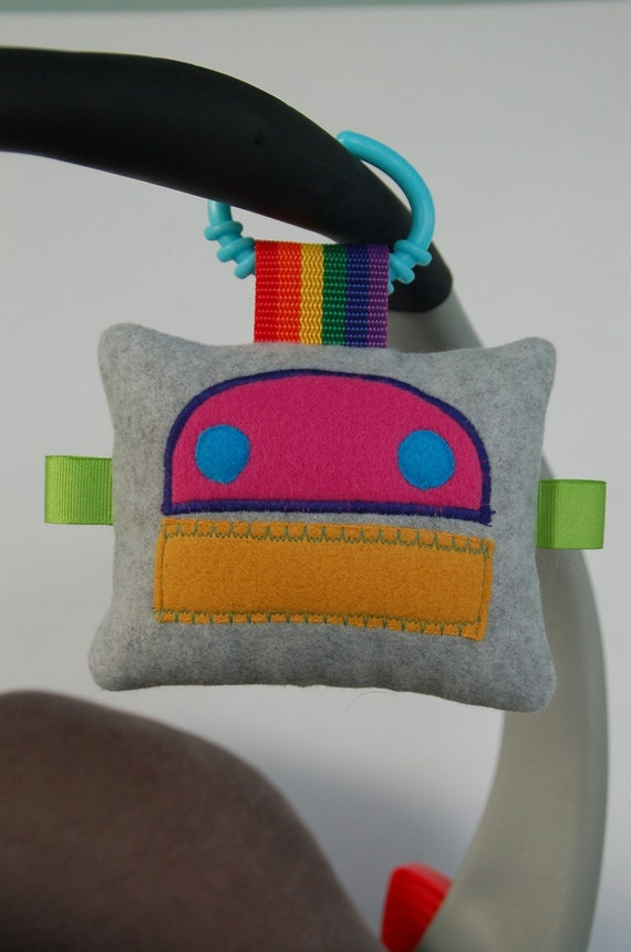 Mini Robot Plushie stroller/carseat baby toy by SnowMachine on Etsy