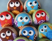 U pick 3 funky kawaii OWL big fabric covered buttons XL 38mm 1 1/2 inches
