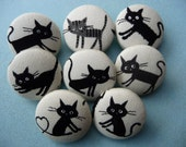 8 kawaii Japanese cats kittens handmade fabric covered buttons 1 1/8 inches