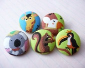 5 forest animal fabric covered buttons 1 1/8 inches - koala, giraffe, Tucan, Parrot and squirrel