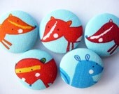 5 fox, squirrel, raccon from woodland  fabric covered buttons 1 1/8 inches