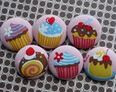 U pick 3 yummy cupcakes muffins big fabric covered buttons XL 38mm 1 1/2 inches