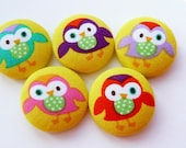 5 kawaii Owls fabric covered buttons 1 1/8 inches - denuartigekat