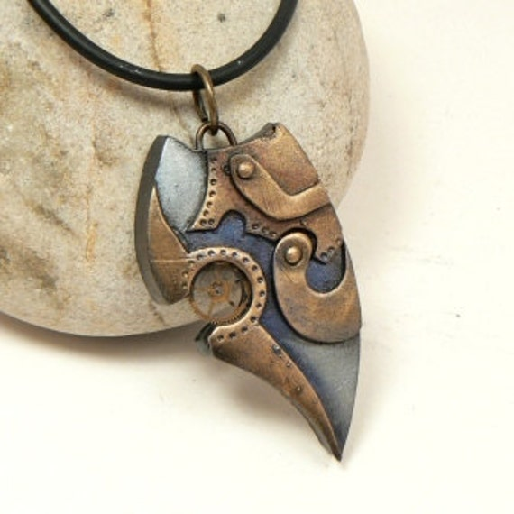 Steampunk Jewelry Scrap Clockwork Pendant Post Apocalyptic