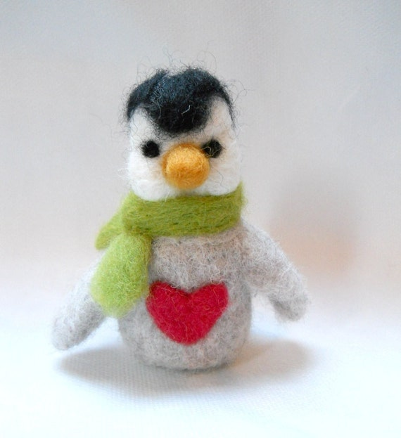 sale needle felted animal , penguin, felted animal, wool  miniature, soft sculpture, Percy