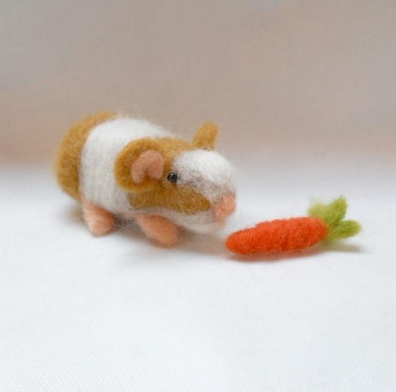 needle felted animal, guinea pig, felted animal, wool animal, soft sculpture miniature, Ginger