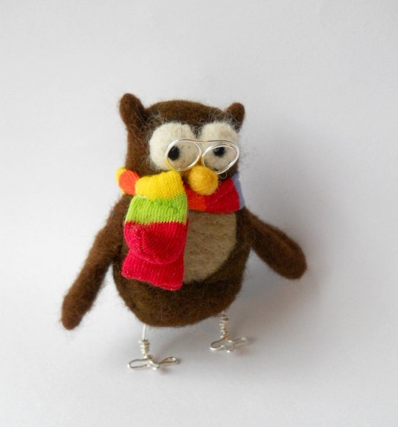sale, needle felted owl , plush owl ornament, felted bird, brown wool, rainbow, soft  sculpture owl called  Oswald