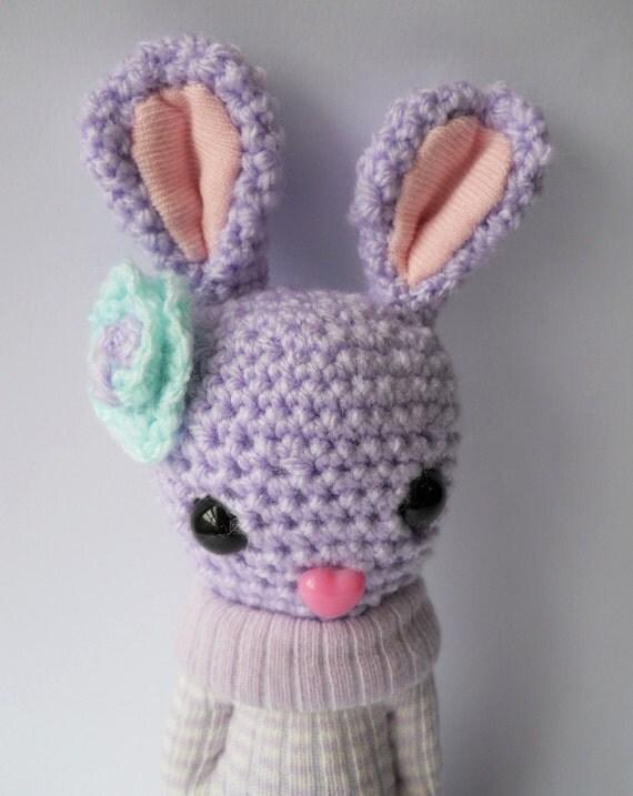 rabbit, Amigurumi kawaii crocheted animal doll, bunny plush soft sculpture, lilac, Bluebell