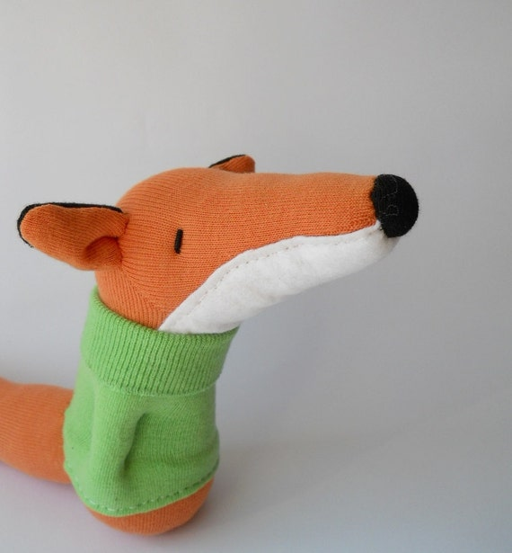 plush fox doll,  sock animal, plush animal, sock doll, plushie, orange, soft sculpture, Finley