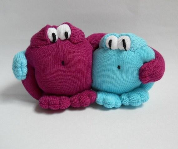 plush monster, sock monster, pair love monsters , sock sculpture miniature, wedding pair,, sock creature, sock animal, Huggables
