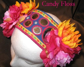 Tribal ATS Fusion Bellydance Headband, Candy Floss REVERSIBLE