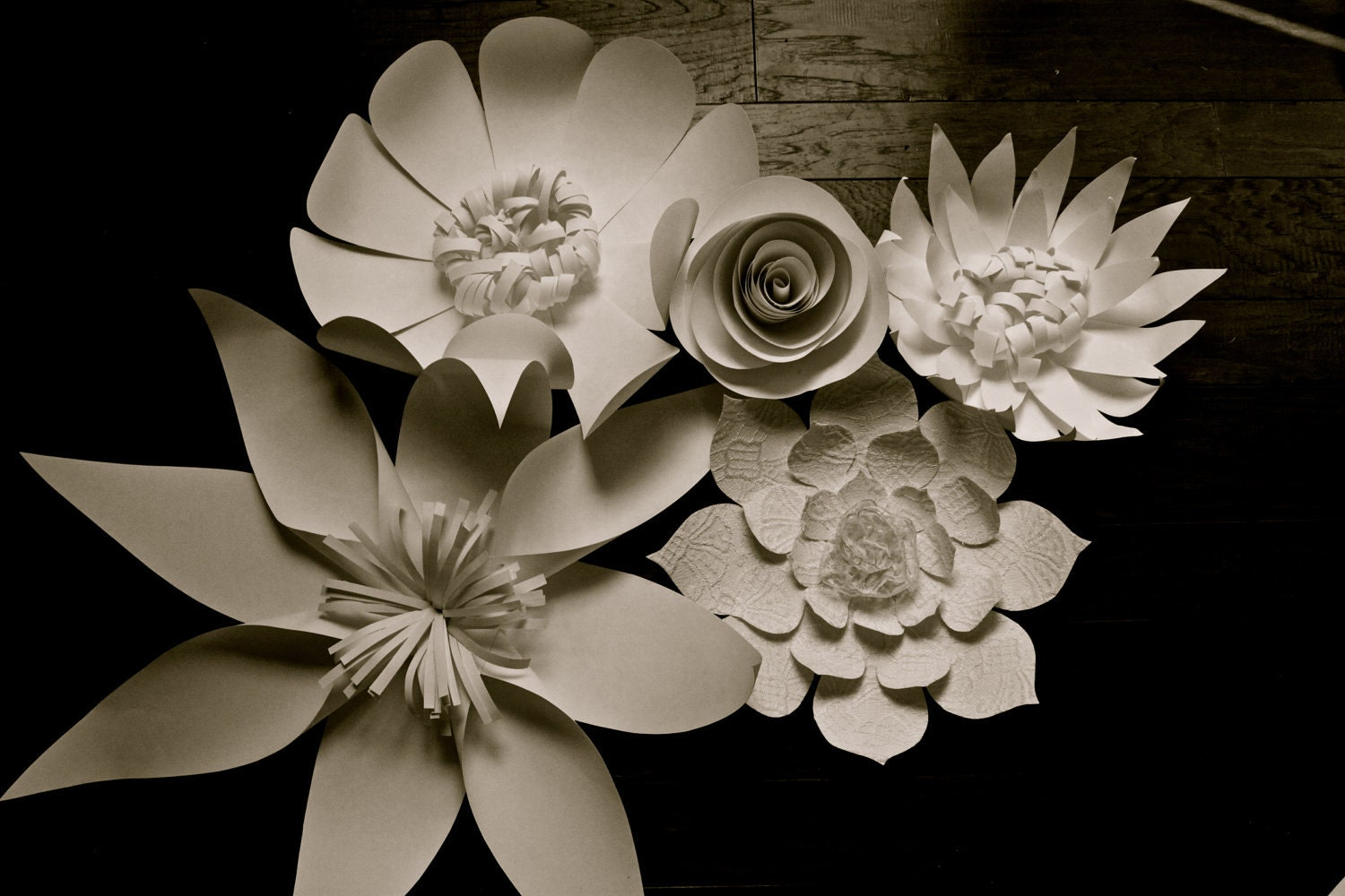 Paper Flower Wall Group 5 Flower Group White or Ivory Lace and