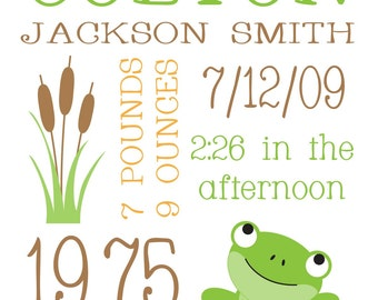 Custom Birth Print - Green Frogs