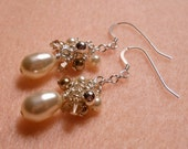 Romance - Cream, bronze, vintage rose Swarovksi crystal and pearl earrings