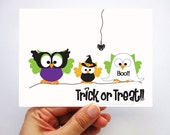 ON SALE 6 Halloween Card, cute Halloween owl card A360 - FREE Shipping Within the U.S