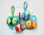 MOVING SALE Fish felt plush set of 4, Eco Friendly Felt Fish Ornament , Orange fish