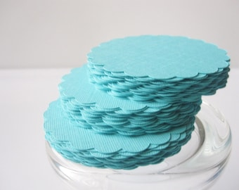 Circle Die Cut,  Scalloped Circles (3.0 Inches) in Teal paper  Textured Cardstock  A38