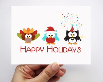 Holidays Greeting cards,  Happy Holidays, Christmas and Happy New Year card, Children's Card A336