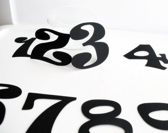 Die cut numbers, 0-9 Table numbers Ravie Font (3.5 inches tall) Textured Cardstock A163