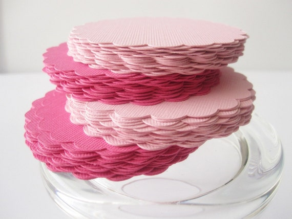 Scalloped Circles (2.0 Inches) in Hot Pink and Pink paper Textured Cardstock, Set of 50 A268