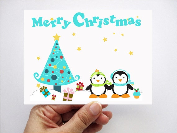 Penguin christmas cards printed cards kids cards merry christmas il570xn m4hsunfo