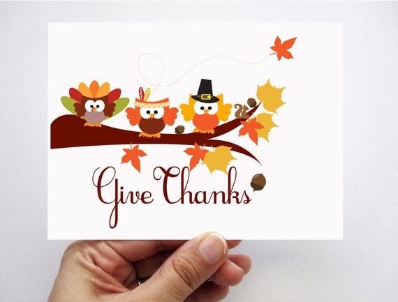 Thanksgiving Card set of 6 , Give Thanks, adorable autumn owl card MariaPalito A350