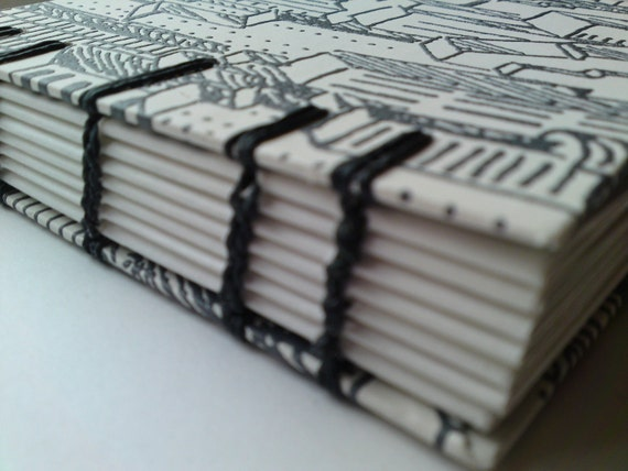 Black and White coptic bound notebook - city scene images