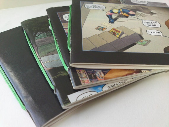 Set of 4 mini notebooks - upcycled from used comics