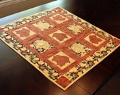 Quilted Autumn Leaves Table Topper or Wall Hanging - Gold, Rust , Brown, Green, Birch