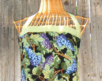 Reversible, Quilted Grapes-Grapevine Apron -  Purple,  Apple Green and Black