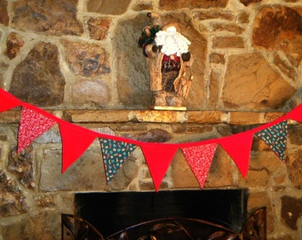 Christmas Holiday Banner Bunting Red and Green