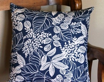 "Decorative Pillow Cover - Tropical Navy with White  Leaves - 20"" X 20"""