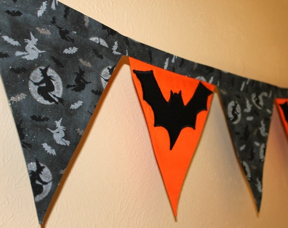 Bats and Witches Halloween Banner Bunting - Double-sided Black, Orange and Grey Glittery Fabric