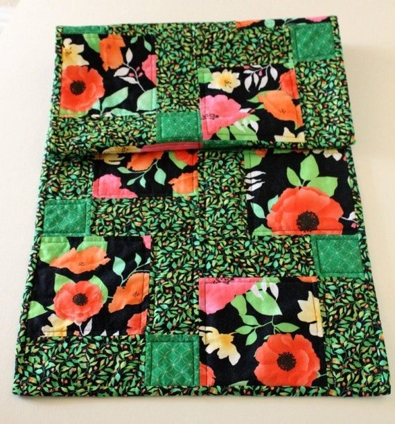 Quilted Table Runner Floral, Spring Green, Black, Pink, Yellow, Orange - Disappearing Nine Patch