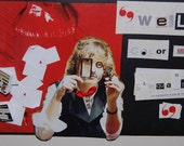 """Collage Made Out of Dollhouse Books, Magazine Scraps, a Magnifying Glass, a Glittery Mustache and a Monocle: """"Color me Clinquant"""""""