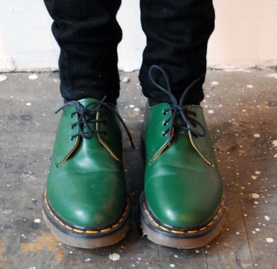 vintage green doc marten shoes made in england