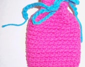 Handmade Crocheted Cotton Pouch, Medicine Bag, Soap Saver, Change Purse - Hot Pink and Electric Blue - READY TO SHIP
